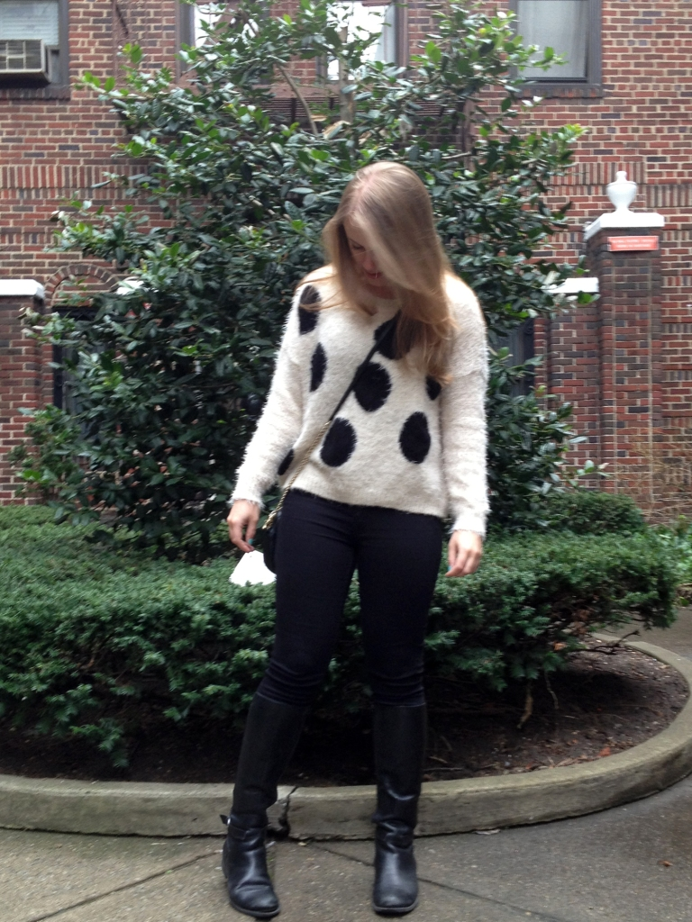 Polka dots, sweater, blogger outfit