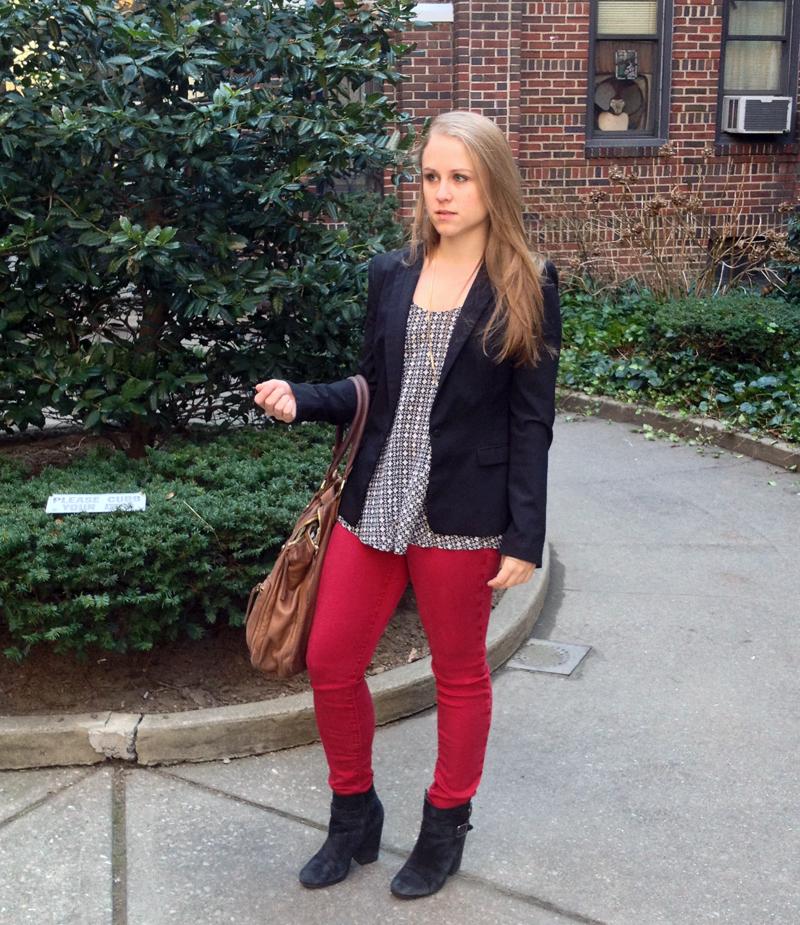 Outfit post, black blazer, red denim