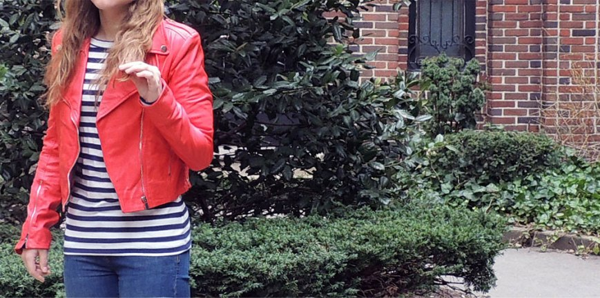 Outfit Post, La Marque Coral Leather Jacket and Minnie Mortimer striped tee