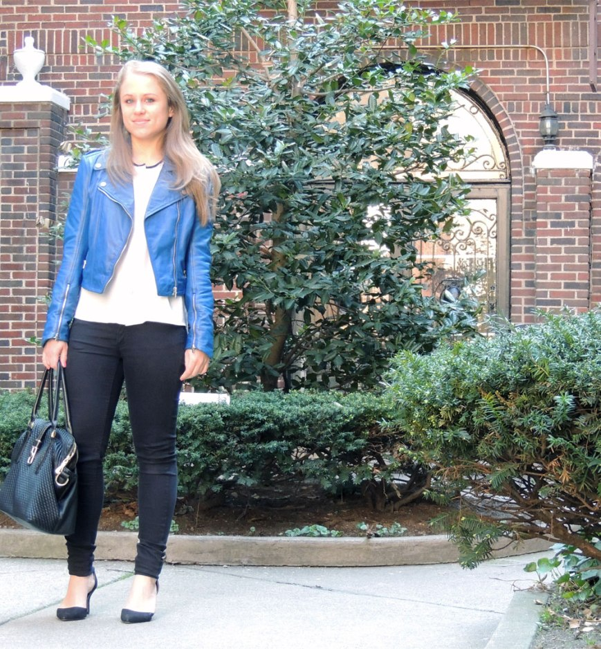 Cobalt Blue Leather Jacket