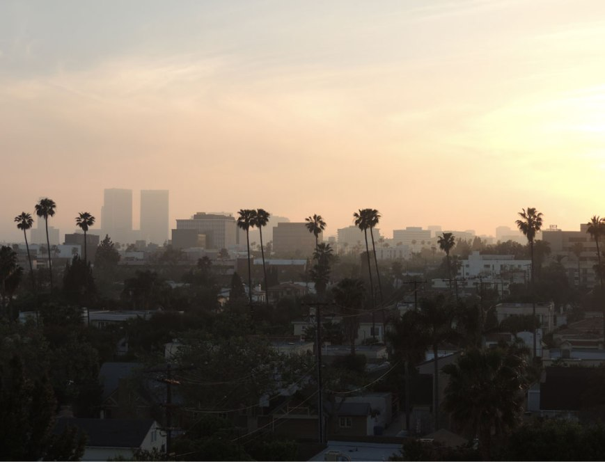 Los Angeles sunset from the SLS Beverly Hills Hotel Rooftop