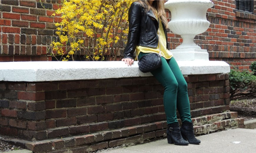 Yellow Sweater & Black Leather Jacket