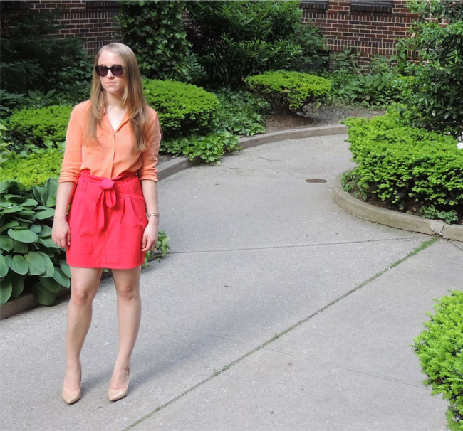 Orange & Coral Color Block Outfit, The Blonde Banana