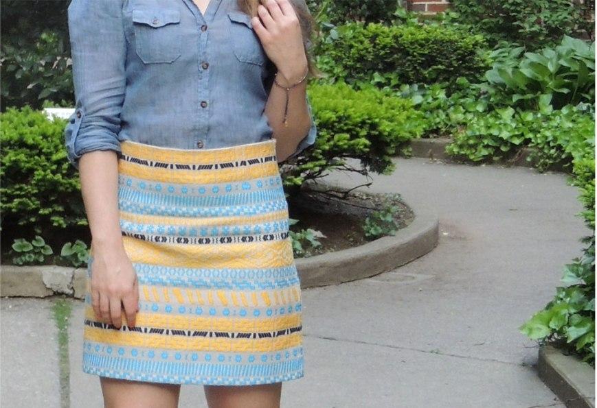 Zara Blue & Yellow Statement Skirt