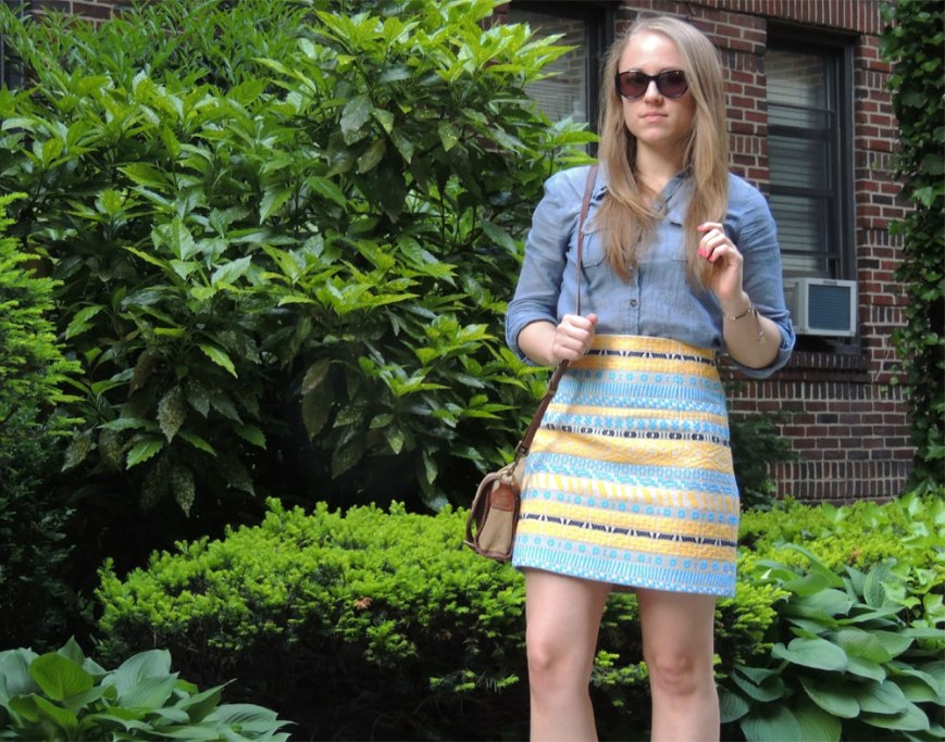 Zara Blue & Yellow Statement Skirt