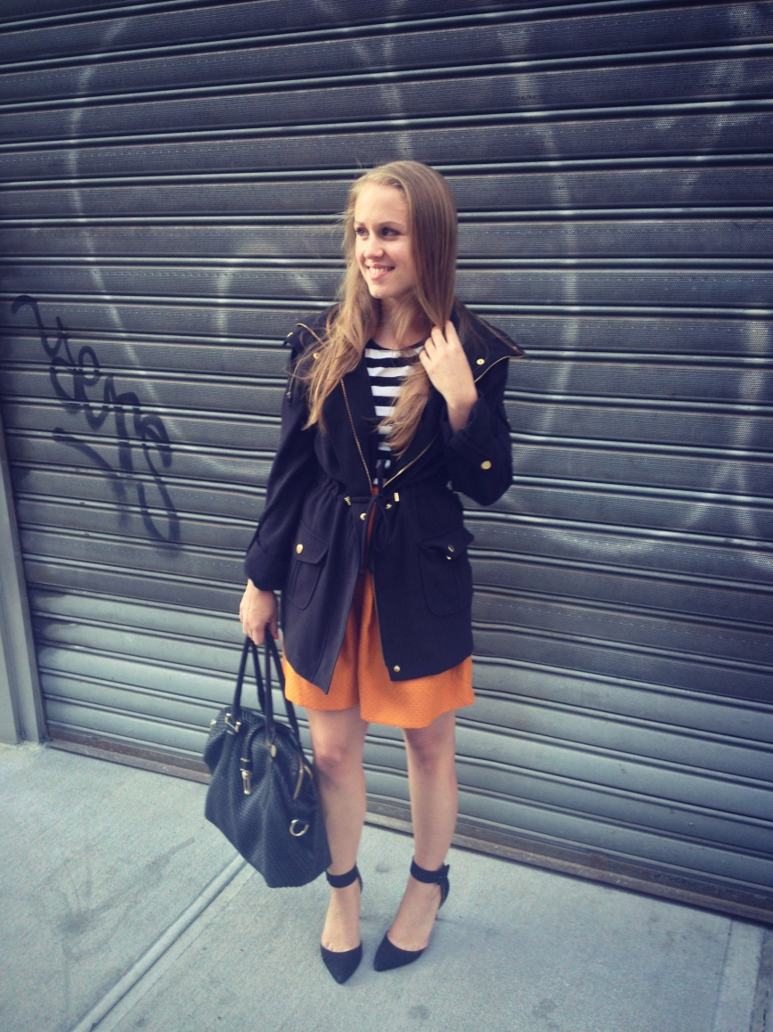 Striped tee, mustard skirt, Muse jacket