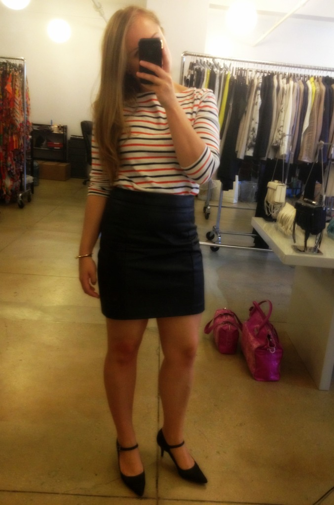 Striped Top Leather Skirt